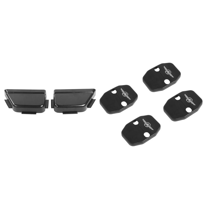 Car Rear Door Net Pocket Storage Box Organizer for Jeep Wrangler JK 2011-2017 & Car Door Lock Cover Buckle Decor Trim