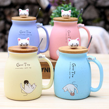 2020 New Japan-Type Cartoon Ceramic Cup With Lid Spoon Mug Couple Day Drinking Water Cup Milk Cup Coffee Mug Portable Office Cup peacock shape water cup large capacity mug with lid spoon creative personality tea cup ceramic coffee cup latte milk mug