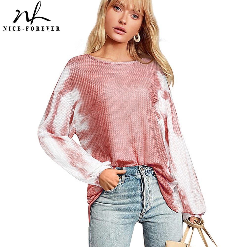 Nice-forever Winter Women Chic tie-dyed Knitted Sweater Casual Loose Oversize Pullover Sweatshirt MY021