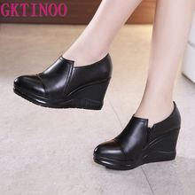 GKTINOO 2020 Spring Genuine Leather Women Pumps Platform Wedges Pointed Toes Dee
