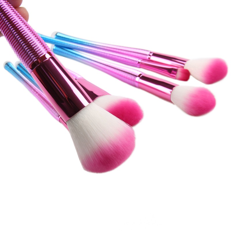 7 screw pattern make-up brush, colorful powder handle, soft hair, make-up and rinse set, beauty tools