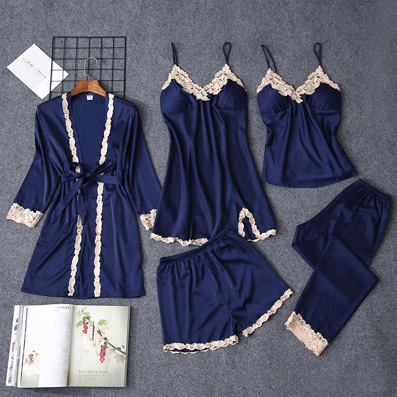 Pajamas   Women   pajama     sets   Bride Robes 5pcs/  set   nightgown Night suit for women babydolls women   pajamas     set   lingerie Plus size