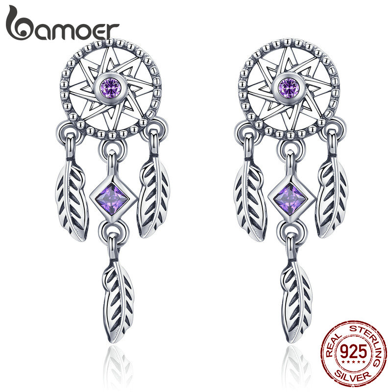 BAMOER 925 Sterling Silver Vintage Dream Catcher Drop Earrings for Women Purple Cubic Zircon Sterling Silver Jewelry SCE502