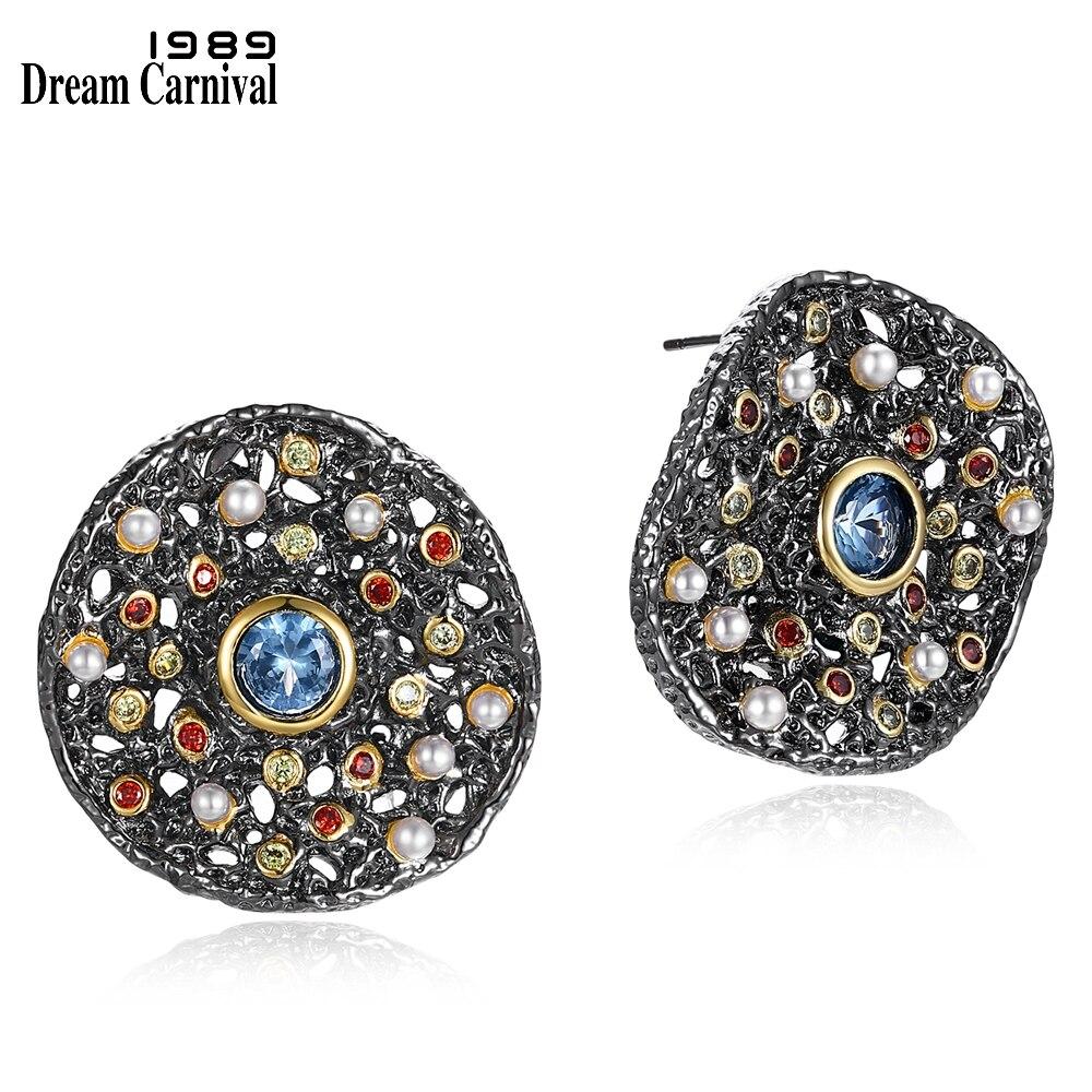 Image 2 - Dreamcarnaval 1989 exagéré femmes gothique ensemble de bijoux boucles doreilles anneau pendentif collier mélange cubique Zircon synthétique perle ERP6532S3Parures de bijoux   -