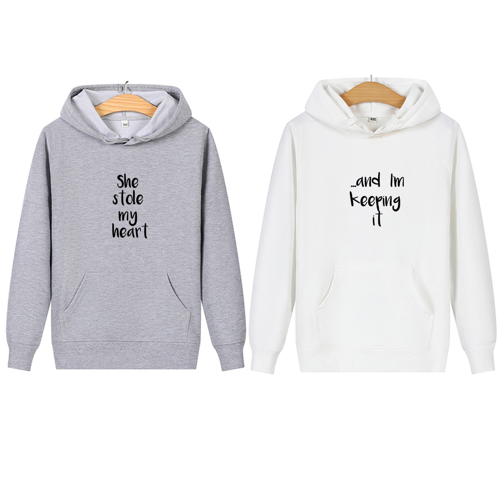 She Stole My Heart Letter Couple Hoodies Women Men Sweatshirt Lovers Casual Oversized Pullovers Cotton Coat Valentine's Day Gift