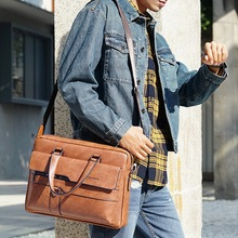JODIMITTY Men Briefcase Bag High Quality Business Famous Brand Leather Shoulder