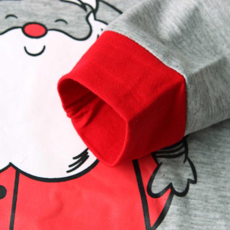 Anak Pakaian Europe Amerika Musim Semi Musim Gugur Memakai Rumah Santa Claus Lengan Panjang Top + Celana Dicetak Natal Anak Memakai Rumah