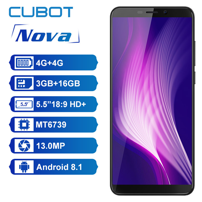 Купить Оригинальный Cubot Nova 3 ГБ 16 ГБ Android 8,1 18:9 полный экран 5,5 дюйма MT6739 четырехъядерный смартфон 2800 мАч Dual 4G Dual Sim Celular на Алиэкспресс