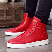 Мужские туфли из ПУ кожи высокие повседневные на шнуровке красные