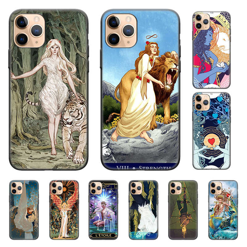 Silicone Case Cover Voor Iphone X Xs Xr Xs 11 11Pro Max 7 8 6 6S 5 5S se Plus 7 + 8 + Telefoon Terug Shell Egypte Mysterieuze Tarot Divin
