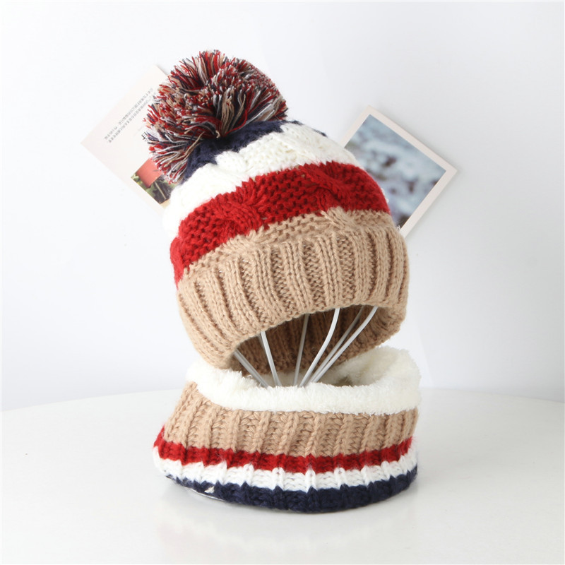 New Winter Hat And Scarf Winter Baby Hat For Children Warm Stripe Wool Hat Men's And Women's Knitting Hat Two-piece Set