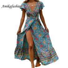 2019 Summer Dress Indie Folk Women Sexy Printed Bow Holiday Beach Wrap Dresses V-neck Boho Elegant Party Sundress YXBD6666