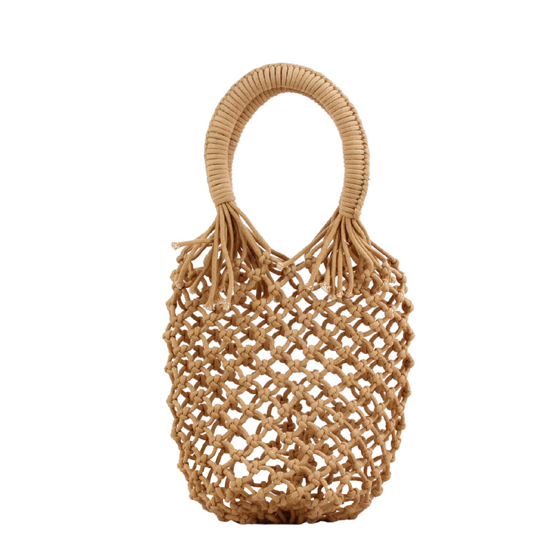 Lovevook Woven Bags Women Handbags With Top-handle Beach Bag For Summer Shopping Bags For Ladies 2020 Hollow Cotton Rope Bohemia