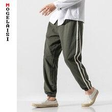 New linen pants solid stripe joggers men casual trousers Autumn breathable soft flax cotton plus size 5XL B375-1762