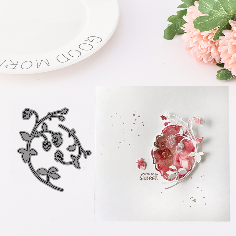 Metal Cutting Dies for Scrapbooking Strawberry Flower Dies Craft Die Cut for Card Making Stencil Handmade Diy Album Decoration in Cutting Dies from Home Garden