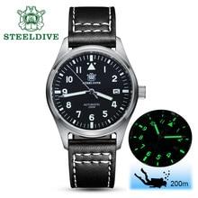 STEELDIVE 1940 Automatische Uhr Männer NH35A Pilot Uhr 316L Stahl Uhren C3 Leucht Automatische Armbanduhr Taucher Uhren 200m