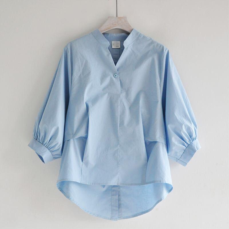 Summer Korea Fashion Women White V-neck   Shirt   Plus Size Lantern Sleeve Loose   Blouses   back split Button   Shirts   Ladies Tops D326