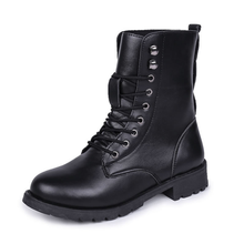 Puimentiua Chunky Motorcycle Boots Women Autumn Round Toe Lace-up Black Boots Shoes