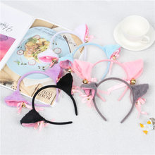 2021 6 Colors Beautiful Masquerade Halloween Cat Ears Cosplay Cat Ear Anime Party Costume Bow Tie Bell Headwear Headband Anime