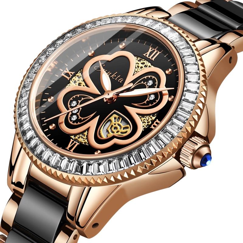 Montre Femme SUNKTA New Rose Gold Watch Women Quartz Watches Ladies Top Brand Luxury Female Wrist Watch Girl Clock Wife Gift+Box