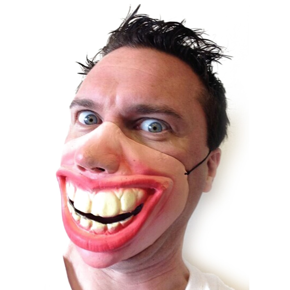 Big Teeth Latex Mask For Movie Fancy Dress Fool's Day Masquerade Party Horror Creepy Elastic Band Half Face Masks Funny Costume