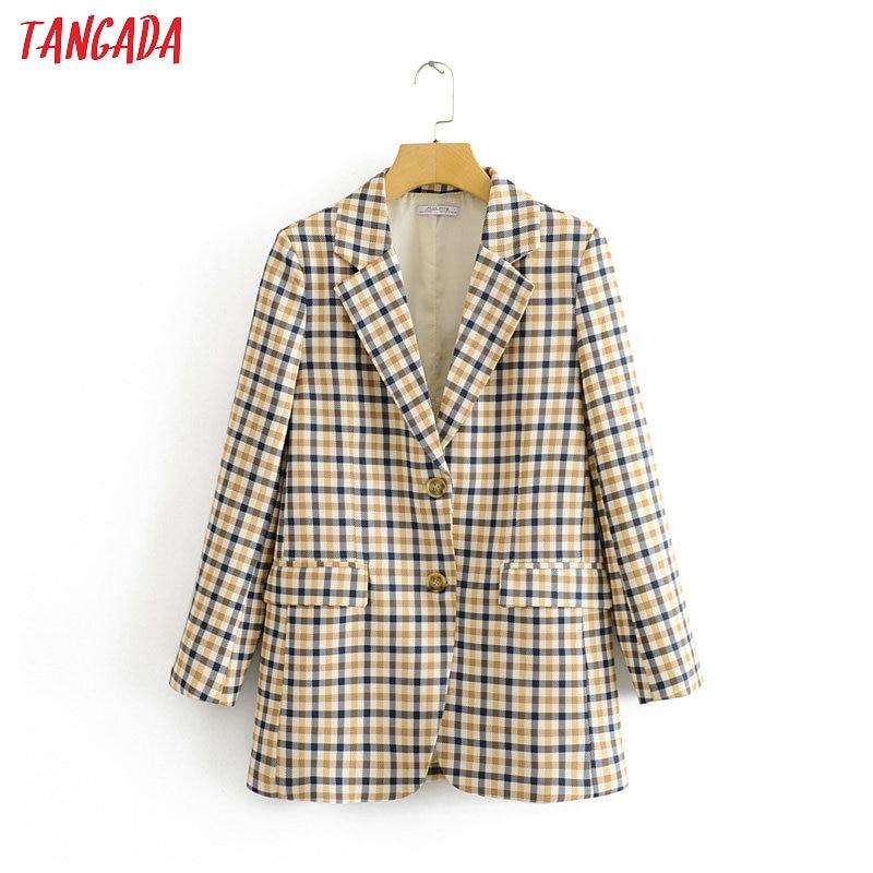Tangada Fashion Woman Plaid Blazer Long Sleeve Pocket Office Lady Work Suit Coat Female Retro Outerwear Elegant Tops DA58