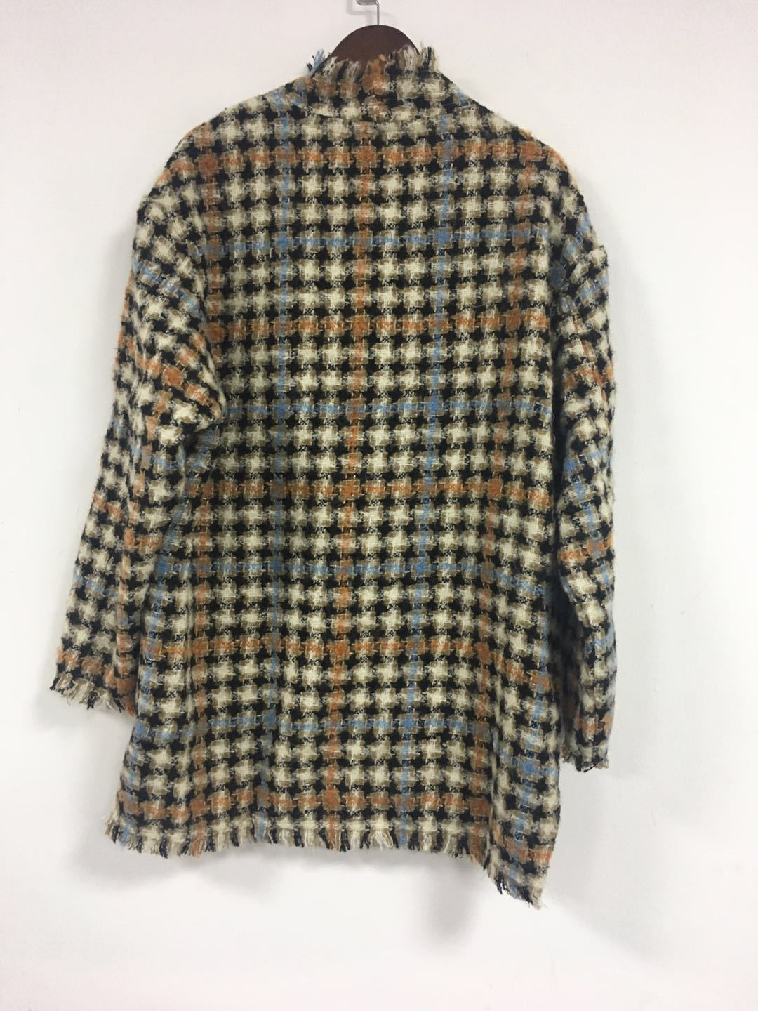 Image 3 - Women Sweater2019 Autumn and Winter Small Fragrance Wind Tweed Wool Blend Retro Check Coat CardiganPullovers