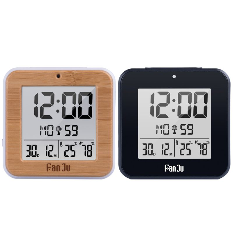 DCF Radio Controlled Digital Dual Alarm Clock Thermometer Hygrometer Automatic Backlight Table Alarm Clock