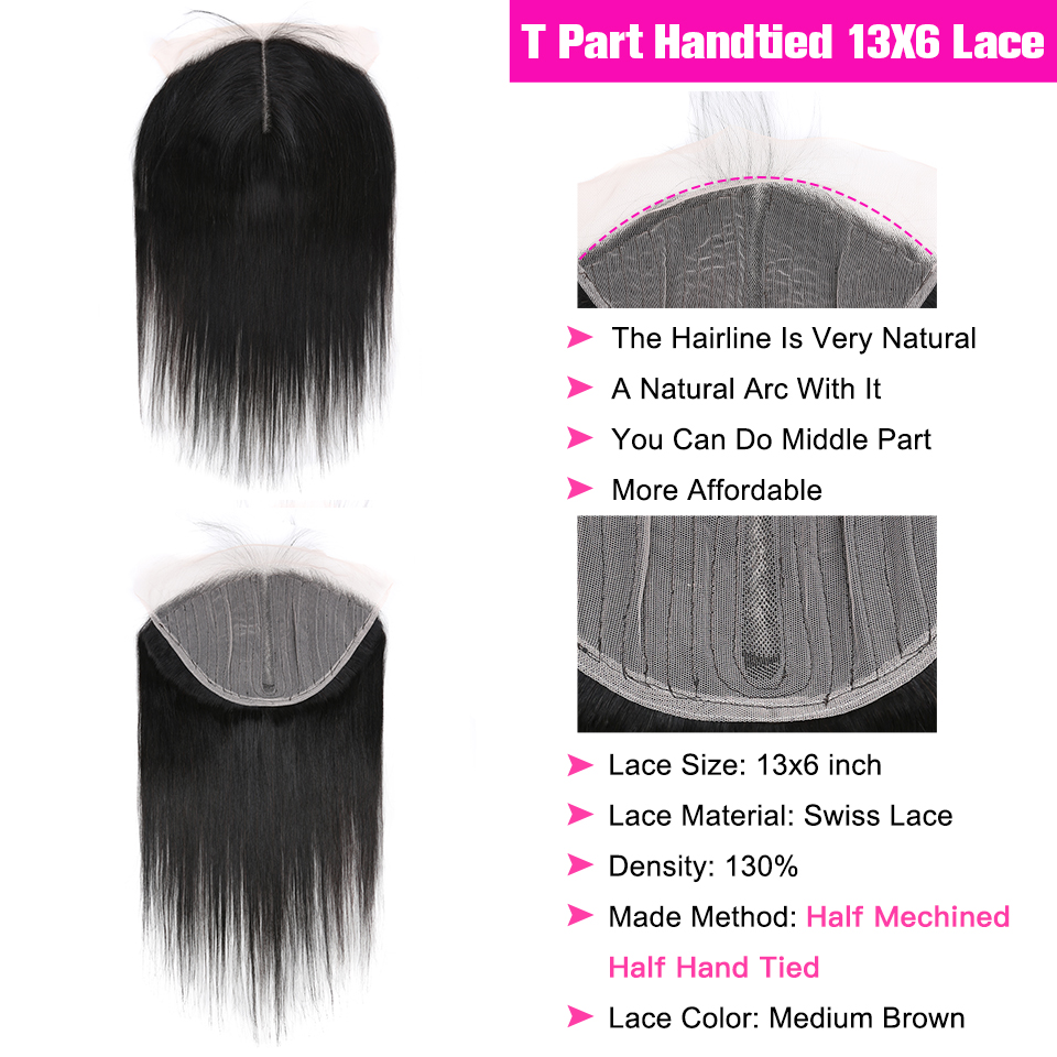 YYong T Part 13X1+ 6X1 Lace Cosure With Bundles,   Straight  Bundles With Closure Half Handtied 3