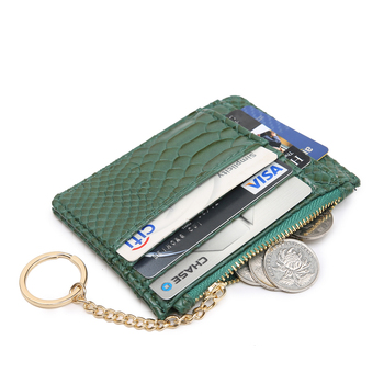 New Card Holder Wallet for Wome Python Pattern Leather Key Chain Bag Small Lanyard Holder Organzier Mini Credit Card Case