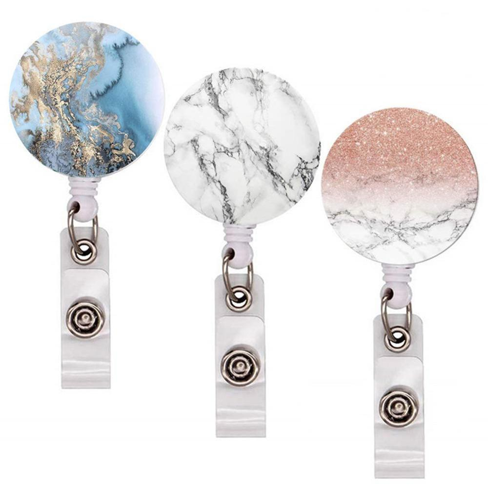 2020 New Design 3Pieces High Quality Retractable Nurse Badge Reel Clip Fashion Starry Sky Marble Pattern IC ID Card Badge Holder