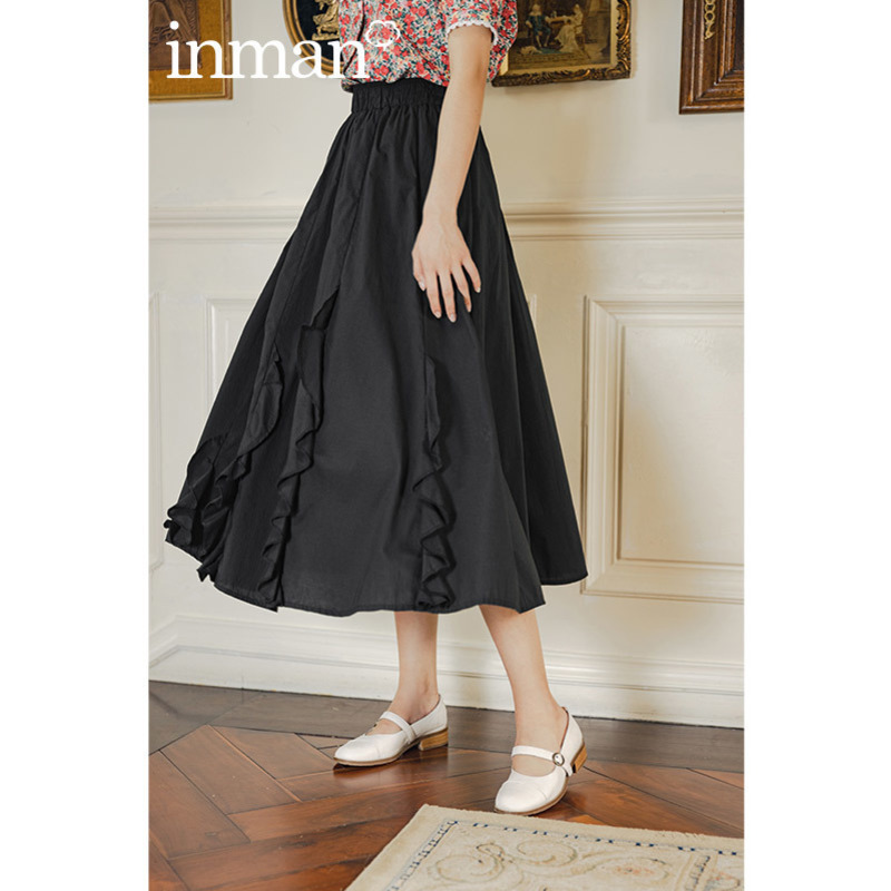 INAMN 2020 Summer New Arrival Retro Style Cotton Pure Color Ruffles Literary Skirt