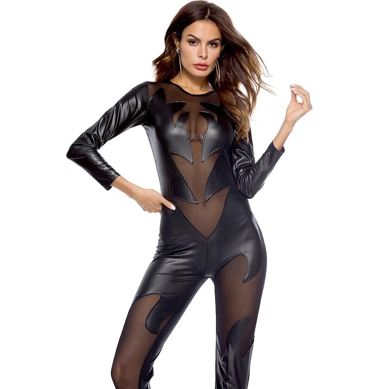 Fetish Wear Sexy Pole Dance Clothing Bodysuit Black PU Leather Jumpsuit Women Skinny Lace Mesh Patchwork Bodysuit Latex Catsuit