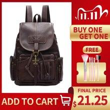 2020 винтажный женский рюкзак для девочек подростков, школьные сумки, модные рюкзаки, ретро кожаный черный большой рюкзак на шнурке XA150H