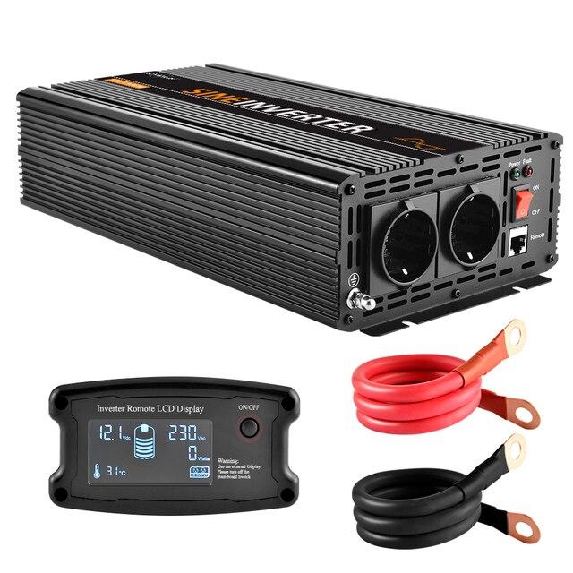 Lcd Inverter 12V 220V 1500W/3000W Pure Sinus Omvormer Converter Piek 3000W in Multi Bescherming Met Afstandsbediening Lcd scherm