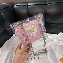 Summer bag female bag 2020 transparent female crossbody bag small daisy printing bucket bag pvc jelly bag mini bags transparent bucket bag and pouch bag