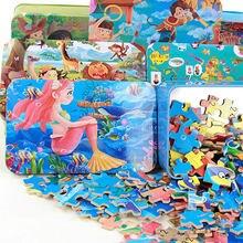 Brinquedos para as crianças 100 Pcs dos desenhos animados caixa de ferro puzzles brinquedos de madeira crianças educação infantil de madeira puzzle brinquedo juguetes educativos