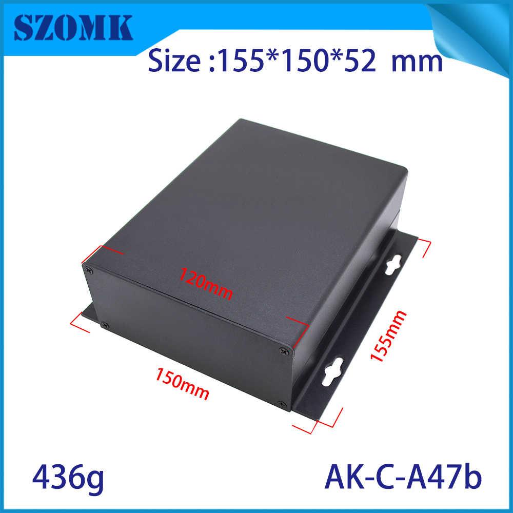 10 個 155*150*52 ミリメートル szomk 黒押出産業アルミジャンクションボックス pcb のアルマイトボックスアルミエンクロージャ