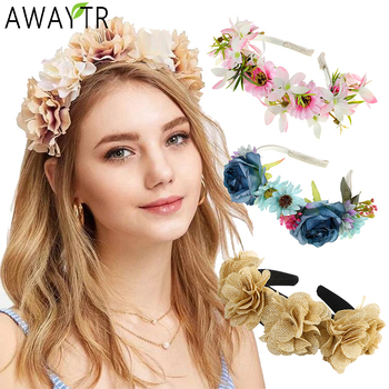 AWAYTR Flower Headband Wedding Hair Hoop Rose Hair Comb Girls Bride Headband Women Beach Hair Barrette Claws Hair Accessories