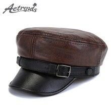 [AETRENDS] Зимние мужские шапки в стиле милитари из кожи, плоская кепка для папы, шапка из натуральной кожи, армейские матросские кепки, Z-6717