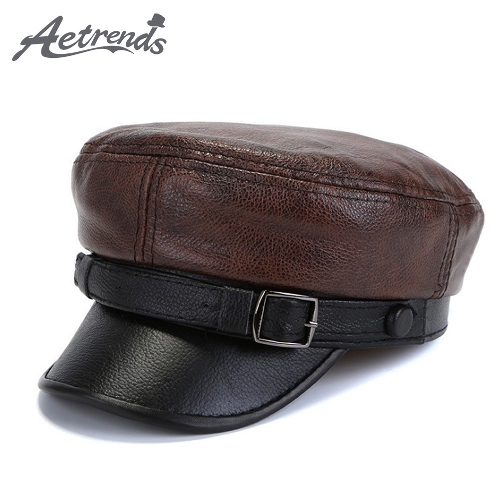 [AETRENDS] Winter 100% Leather Military Hats For Men Flat Cap Dad Hat Genuine Leather Captain Army Sailor Caps Z-6717