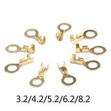 50 pçs/lote dourado o-type 3.2/4.2/5.2/6.2/8.2 crimpterminais elétrica sertir falante do carro macho terminal frio pressionado chapeamento lug