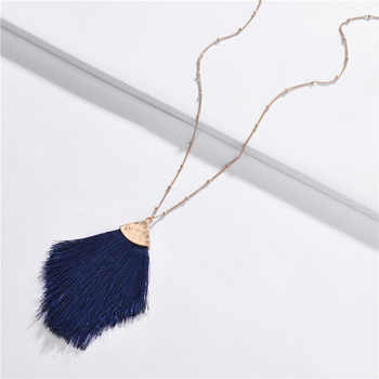 QTWINDY Bohemia Feather Sweater Chain BOHO Tassel Necklace Long Necklace for Women 2019 Fashion Triangle Pendant Necklac