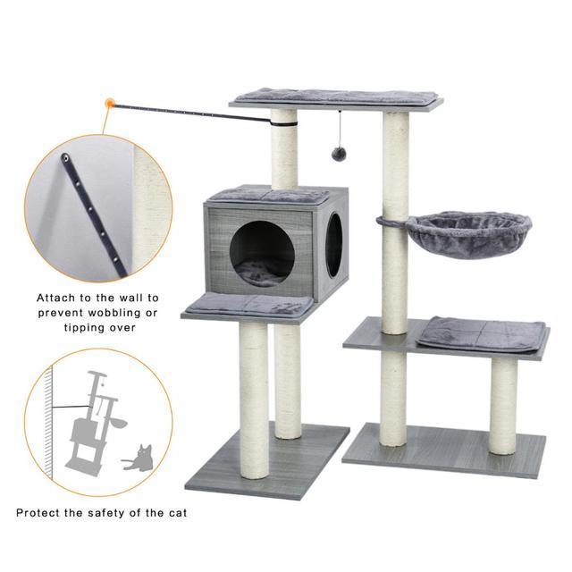 43 Inch All-In-Een Moderne Kat Boom Gevarieerde Stijlen Kat Toren Met Volledig Gewikkeld Sisal Krabben Berichten en Pluche Hangmat Kat Speelgoed