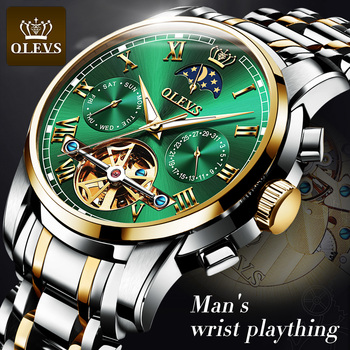 OLEVS Men Watches Top Brand Luxury Automatic Mechanical Watch Stainless Steel Sports Tourbillon Male Wristwatch Gifts For Men luxury brand men mechanical watch alloy pin buckle stainless steel watch tourbillon fashion trend square leather men s watch