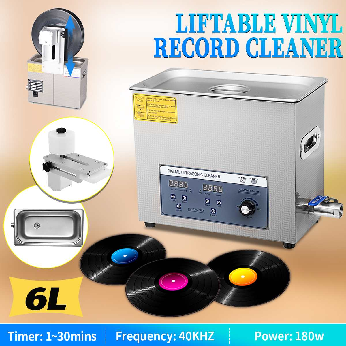 Professional 6L 220V Liftable LP Album Disc Digital Ultrasonic Cleaner Vinyl Record Washing Ultrasound Cleaning Machine Portable