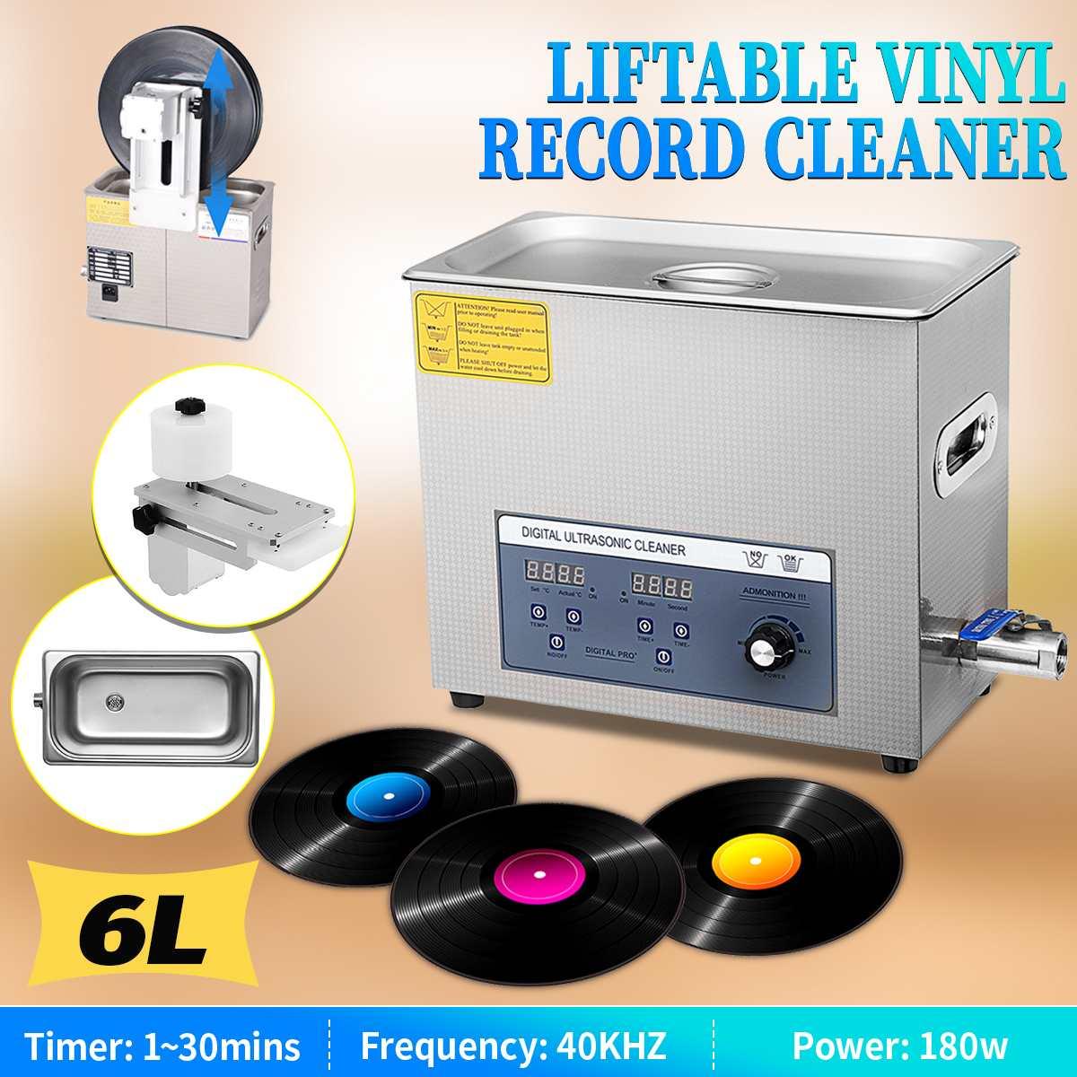 Profissional de 6l 220 v liftable lp álbum disco digital ultra sônico mais limpo vinil registro lavagem ultra som máquina limpeza portátil