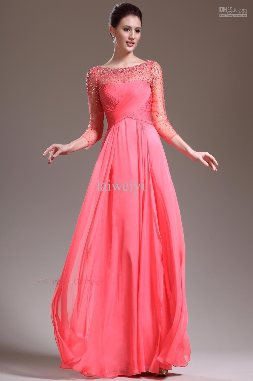 custom sleeves party prom gown beading vestido de renda long elegant Formal robe de soiree 2018 free shipping bridesmaid dresses