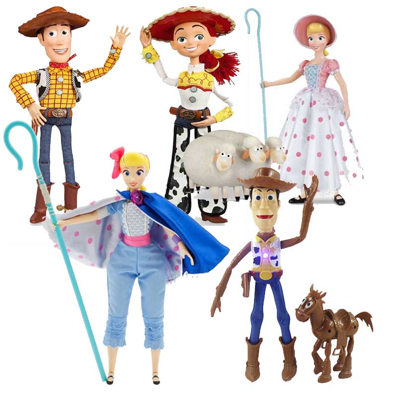 43cm Toy Story 4 Talking Woody Jessie Bo Peep  Action Toy Figures Model Toys Children Christmas Gift No Box