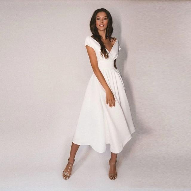 Elegant V-Neck Tea Length Wedding Dress Off the Shoulder Jersey A-Line Bridal Gowns with Pleats Button Back 1